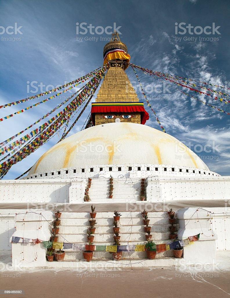 View of Boudhanath stupa - Kathmandu - Nepal stock photo