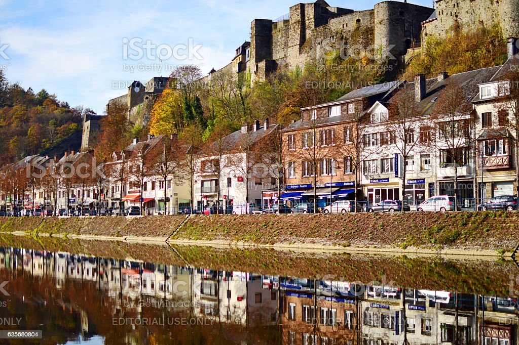View of Bouillon, Belgium, Ardennes, Semois river, autumn colors stock photo