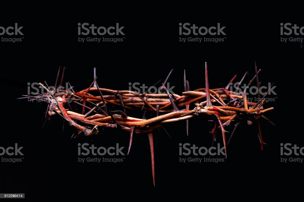 view of branches of thorns woven into a crown stock photo