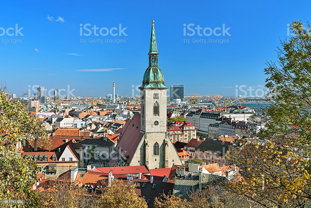 View of Bratislava with St. Martin's Cathedral stock photo