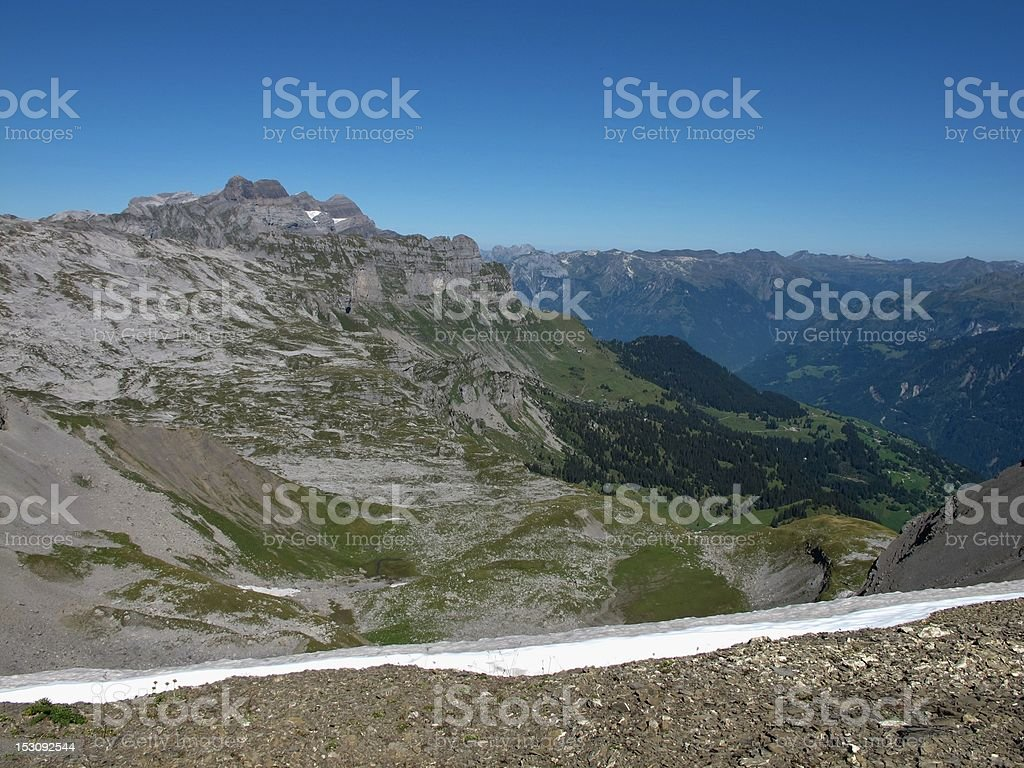 View Of Braunwald And Mountains stock photo