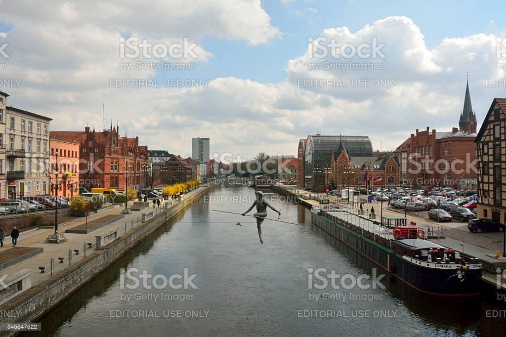 View of Brda river front in Bydgoszcz, Poland stock photo