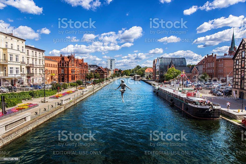 View of Brda river in Bydgoszcz, Poland stock photo