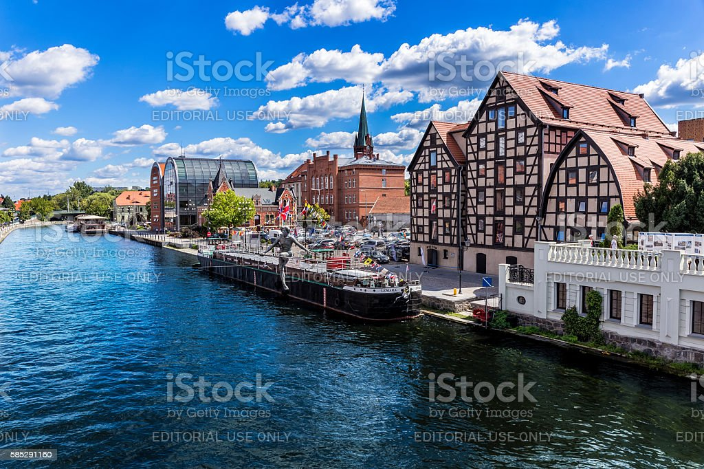 View of Brda river in Bydgoszcz, Poland stock photo
