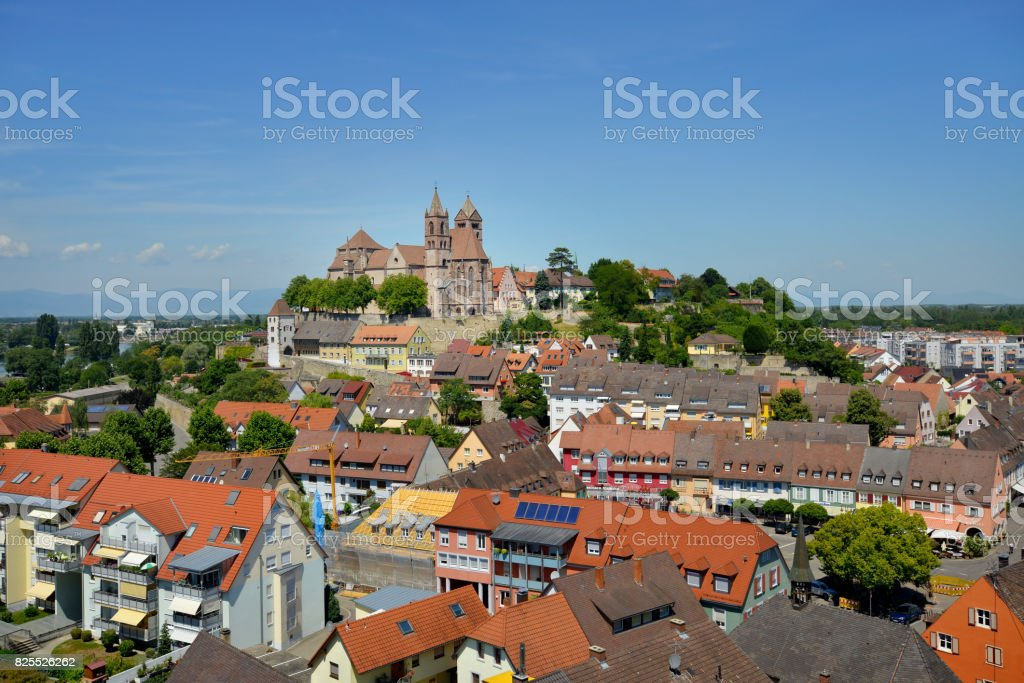 View of Breisach by the Rhine River in Baden-Wurttemberg, Germany stock photo