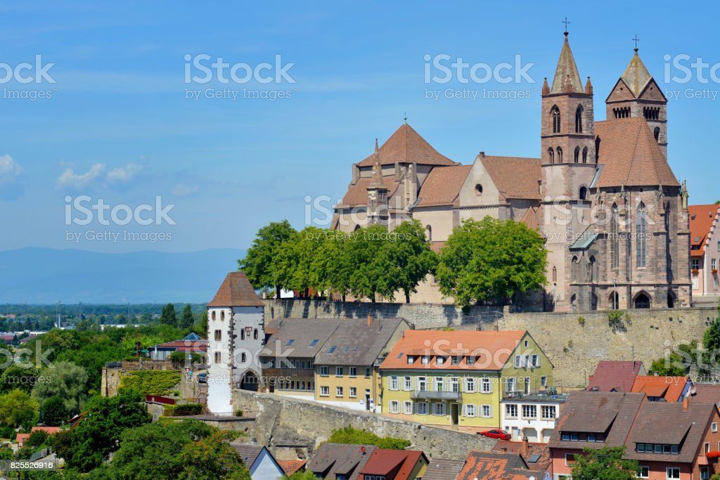 View of Breisach by the Rhine River stock photo