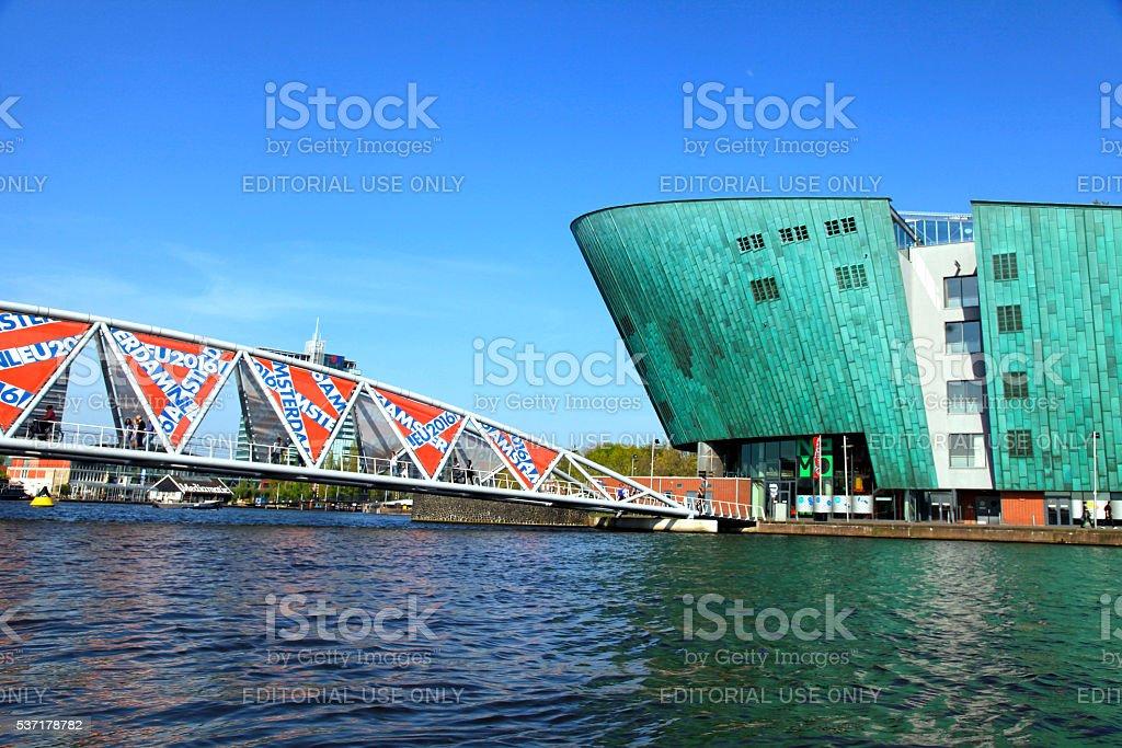 View of bridge and Science Center NEMO, Amsterdam, Netherlands stock photo
