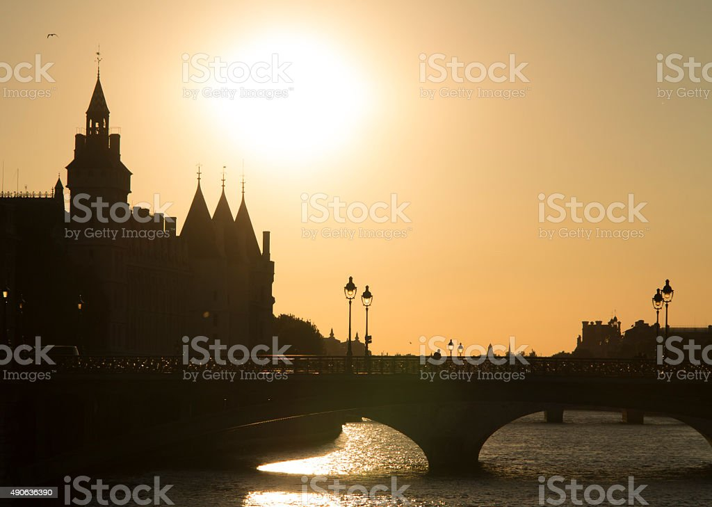 View of bridge over Seina and beautiful palace in Paris stock photo