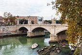 View of Bridge Vittorio Emanuele II, Rome, Italy.