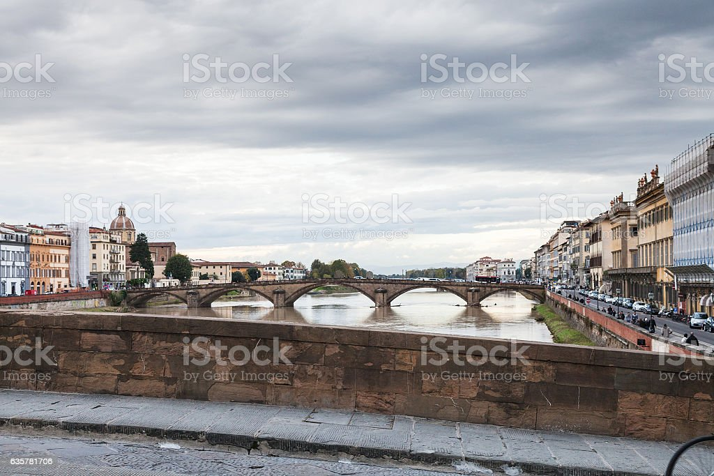 view of bridges and quay in Florence in autumn stock photo