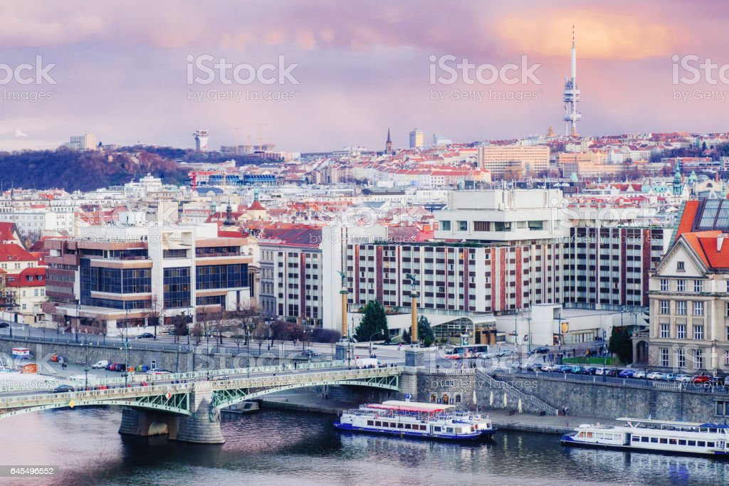 view of bridges on the Vltava river and  the historical center stock photo