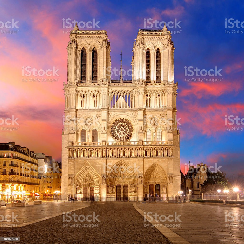 View of bright Notre Dame in Paris stock photo