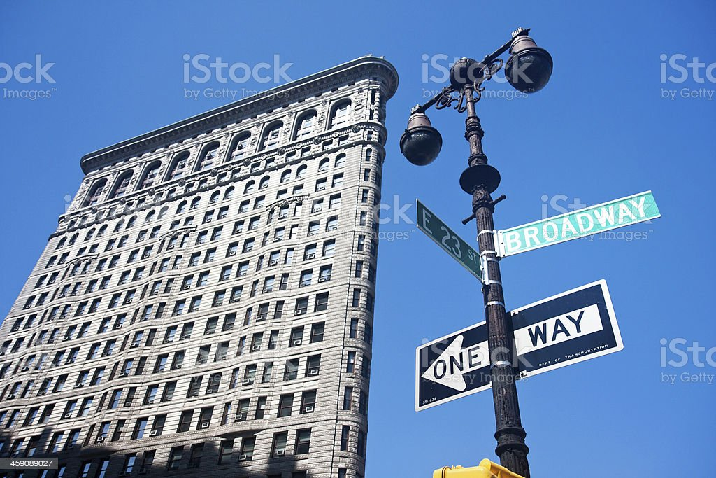 A view of Broadway St. and the Flatiron Building in NYC stock photo