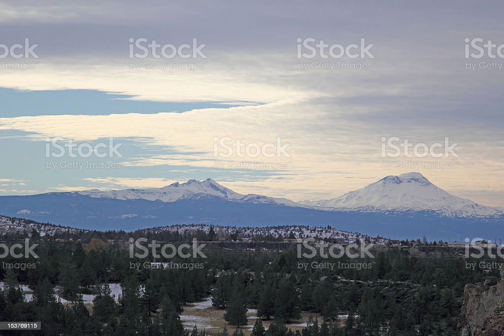 View of Brokentop and South Sister, Oregon stock photo