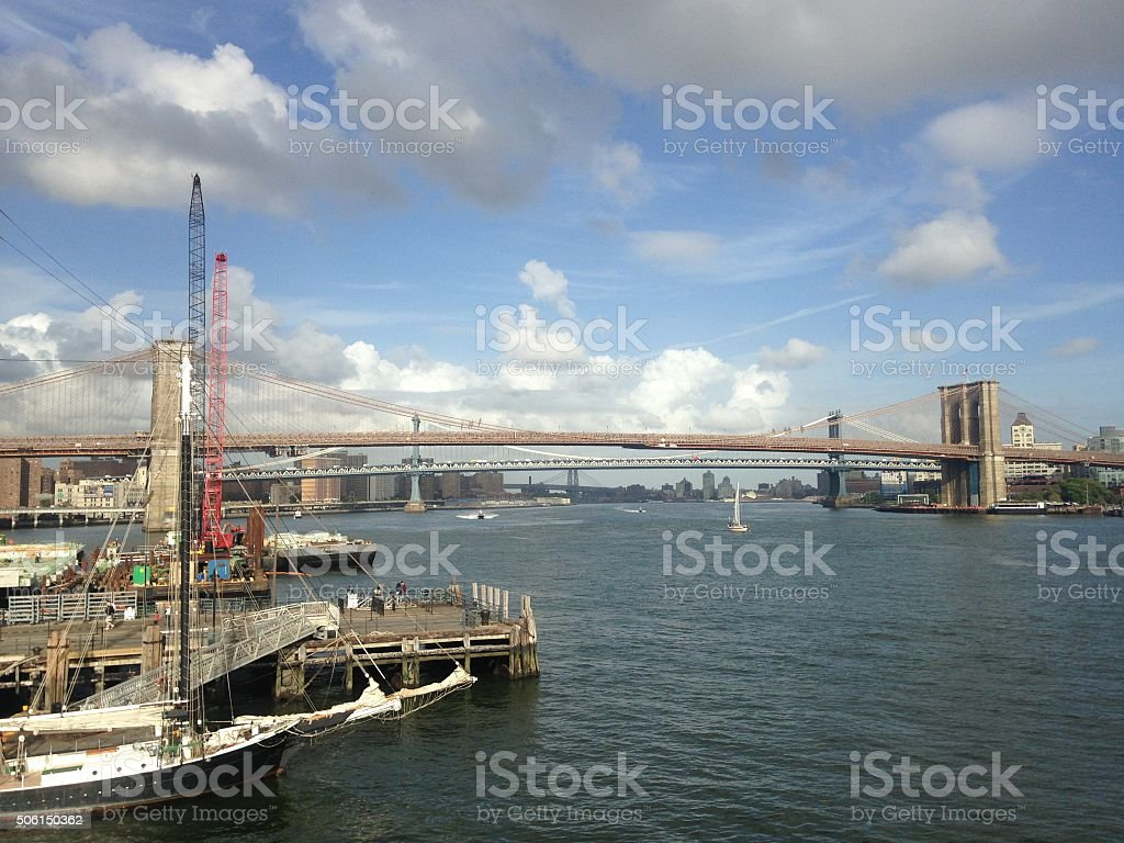 View of Brooklyn and Manhattan Bridges from South Street Seaport. stock photo