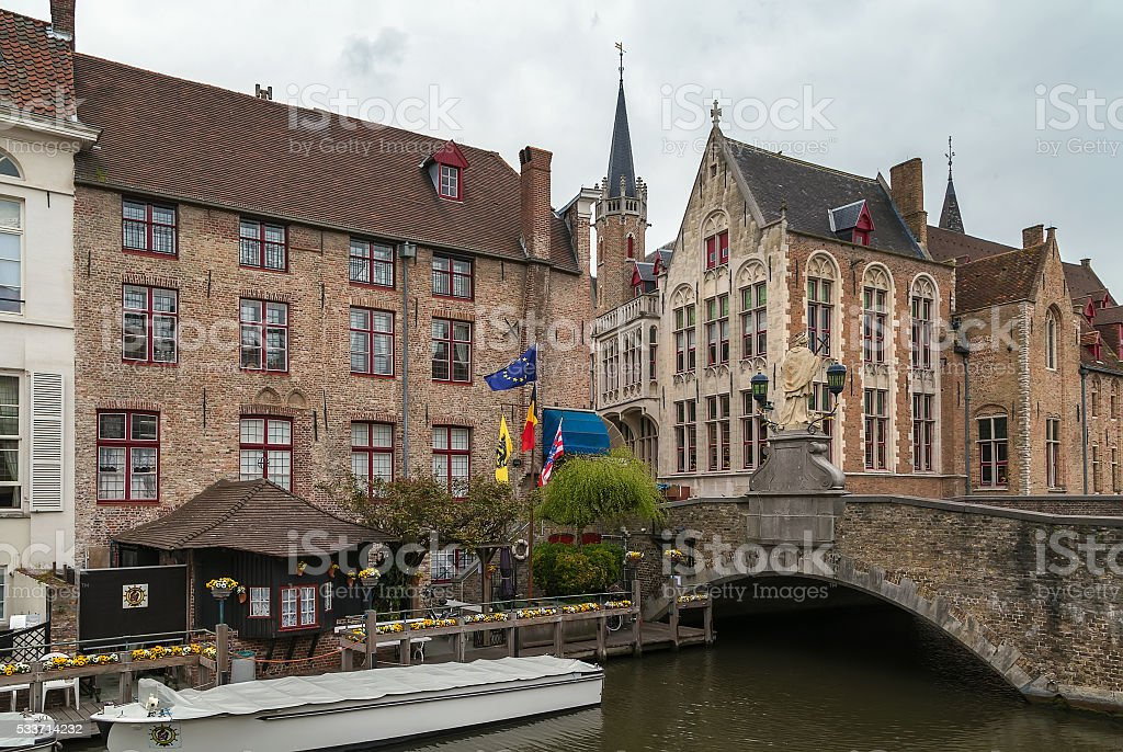 view of Bruges canal, Belgium stock photo