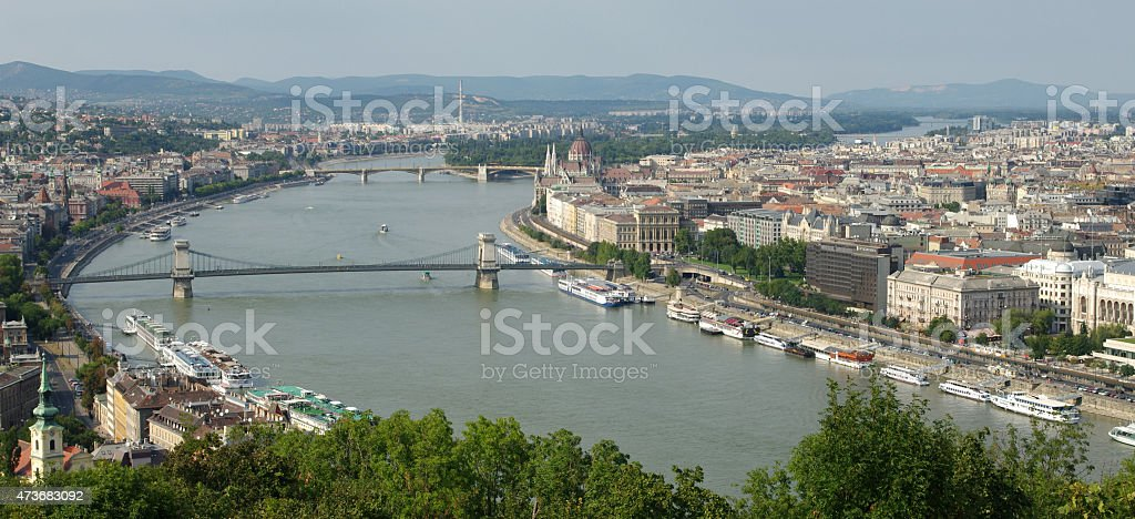 View of Budapest from Citadella, Gell?rt Hill stock photo