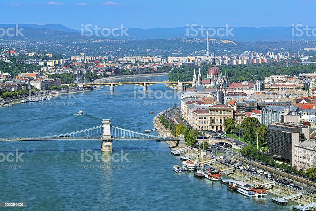 View of Budapest with bridges and Hungarian Parliament Building stock photo