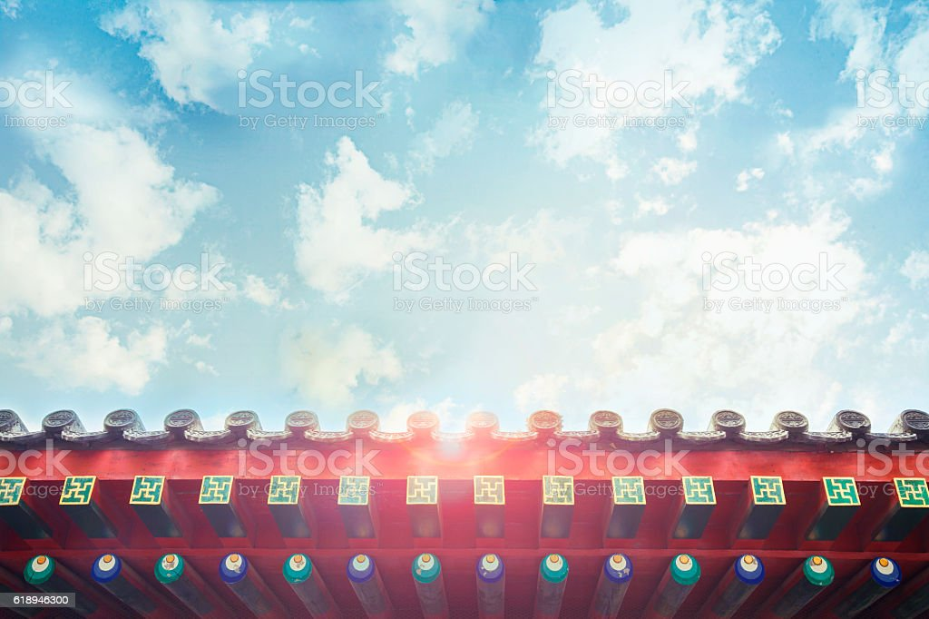 View of Buddhist Temple and sky stock photo