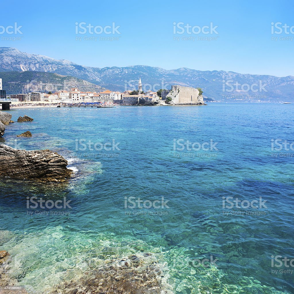 View of Budva Old Town with Clear Blue Water stock photo