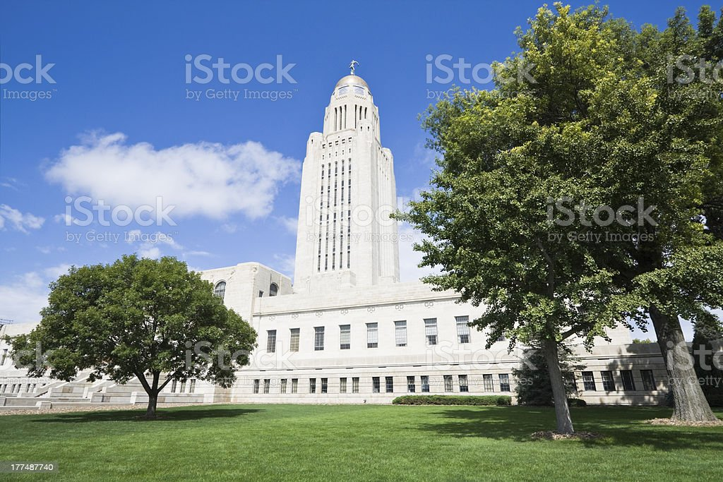 View of building of Nebraska state capital stock photo