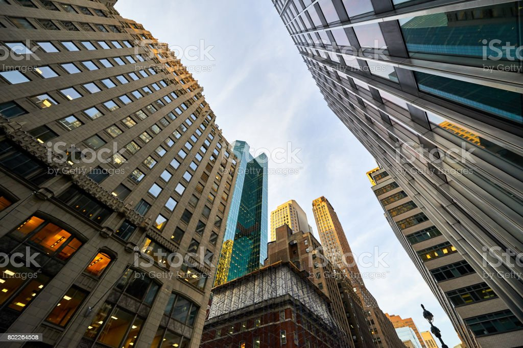 View of buildings looking up in Manhattan in New York City stock photo