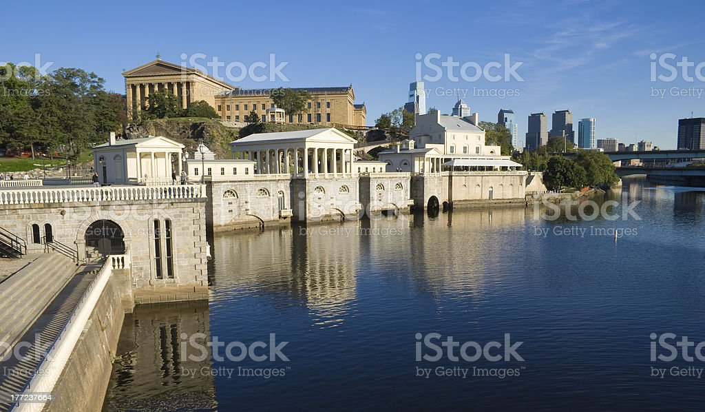 View of buildings on the Schuylkill River in Philadelphia royalty-free stock photo