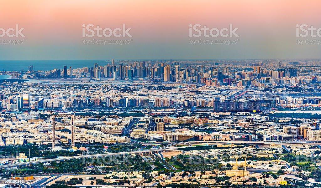 View of Bur Dubai, the Creek, Deira and Sharjah stock photo