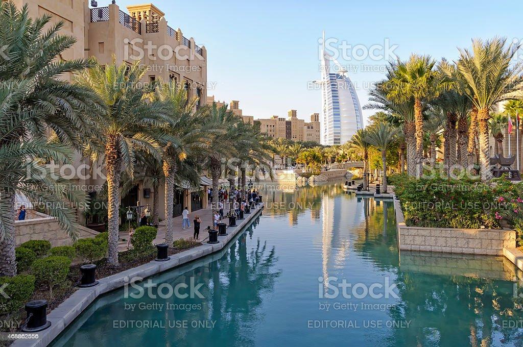 View of Burj Al Arab Hotel from Madinat Jumeirah resort stock photo