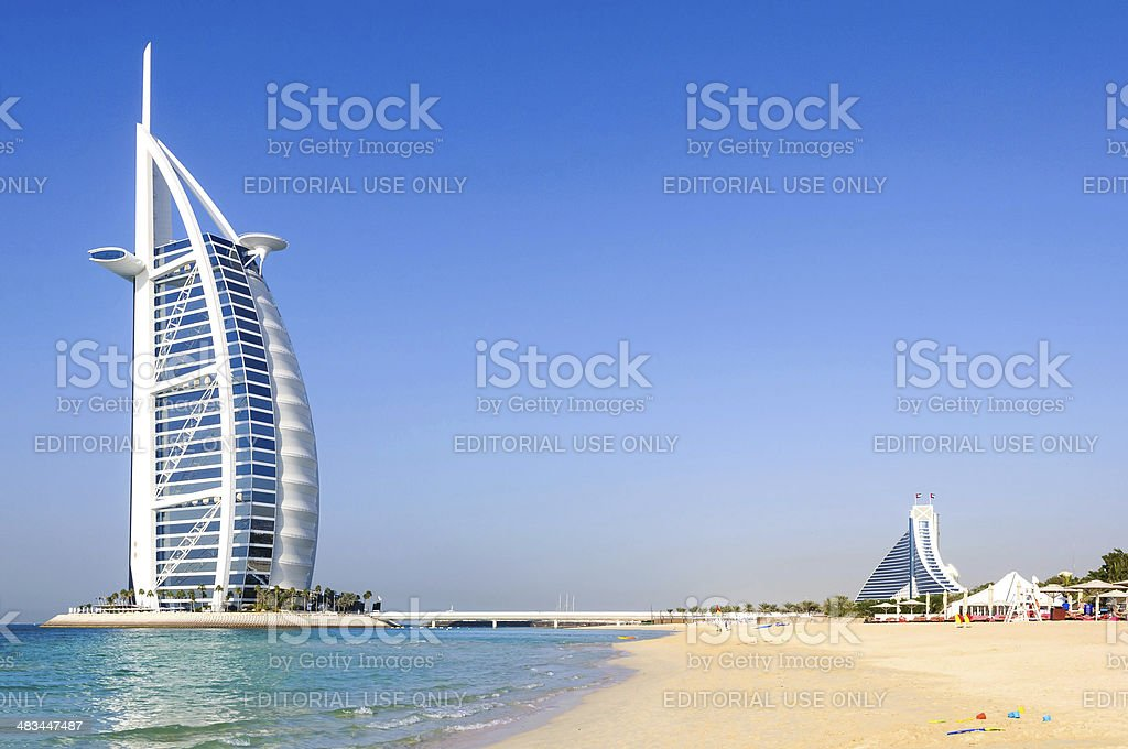 View of Burj Al Arab hotel from the Jumeirah beach stock photo
