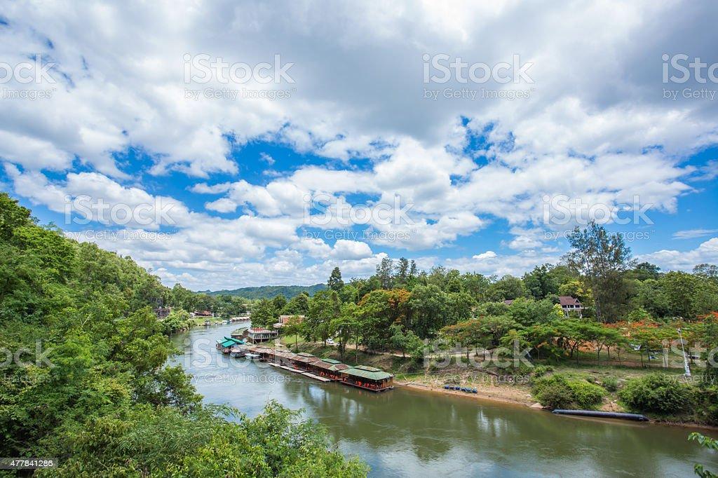 View of Burma railway (Death railway) and river Khwae (Kwai) stock photo
