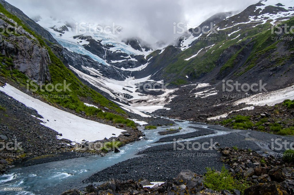 View of Byron Glacier and Byron creek stock photo