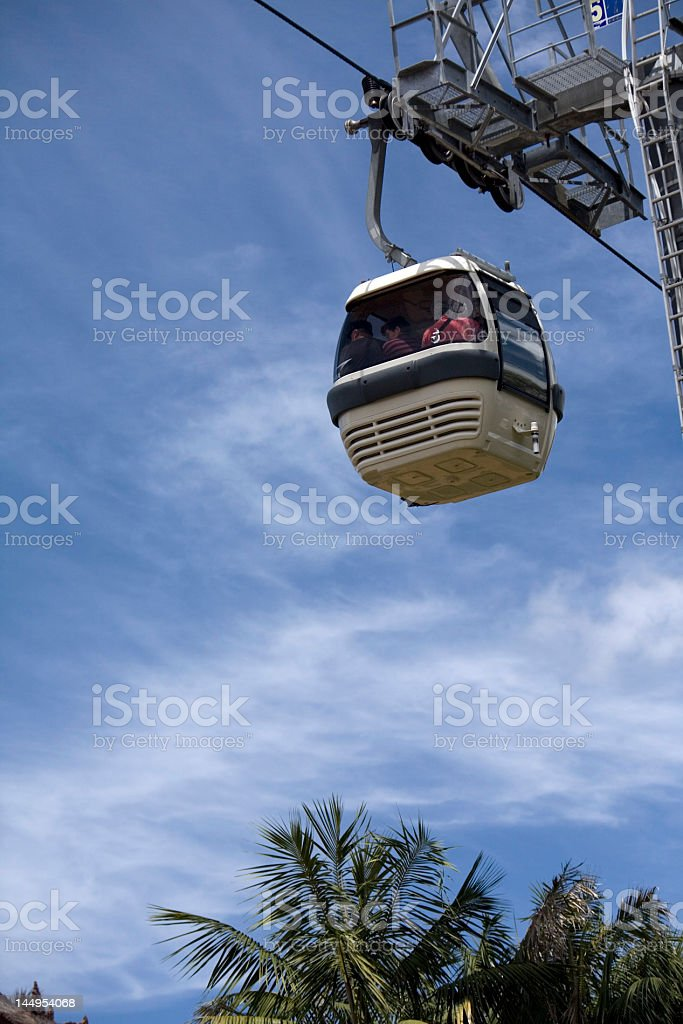view of cable car, passengers  and  mechanism stock photo