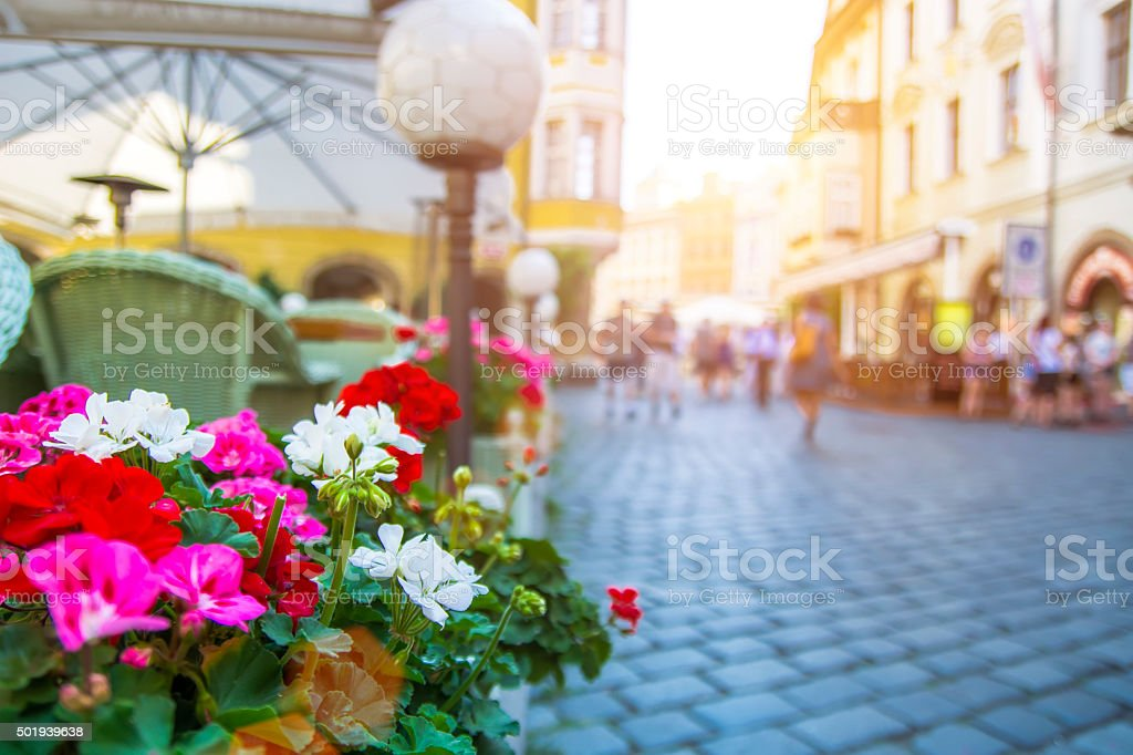 View of Cafe and Street in Prague Old Town stock photo