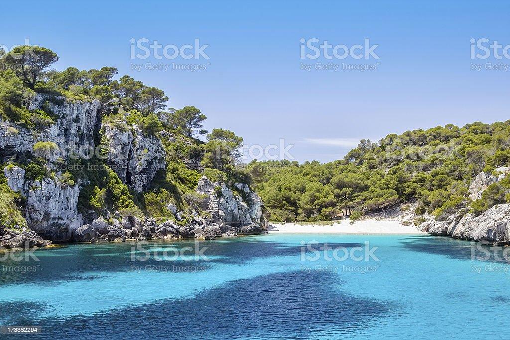 View of Cala Macarelleta beach on Menorca Island stock photo