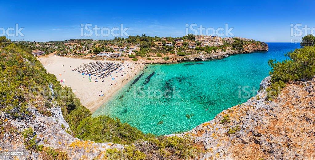 View of Cala Romantica and S'Estany d'en Mas - Majorca stock photo