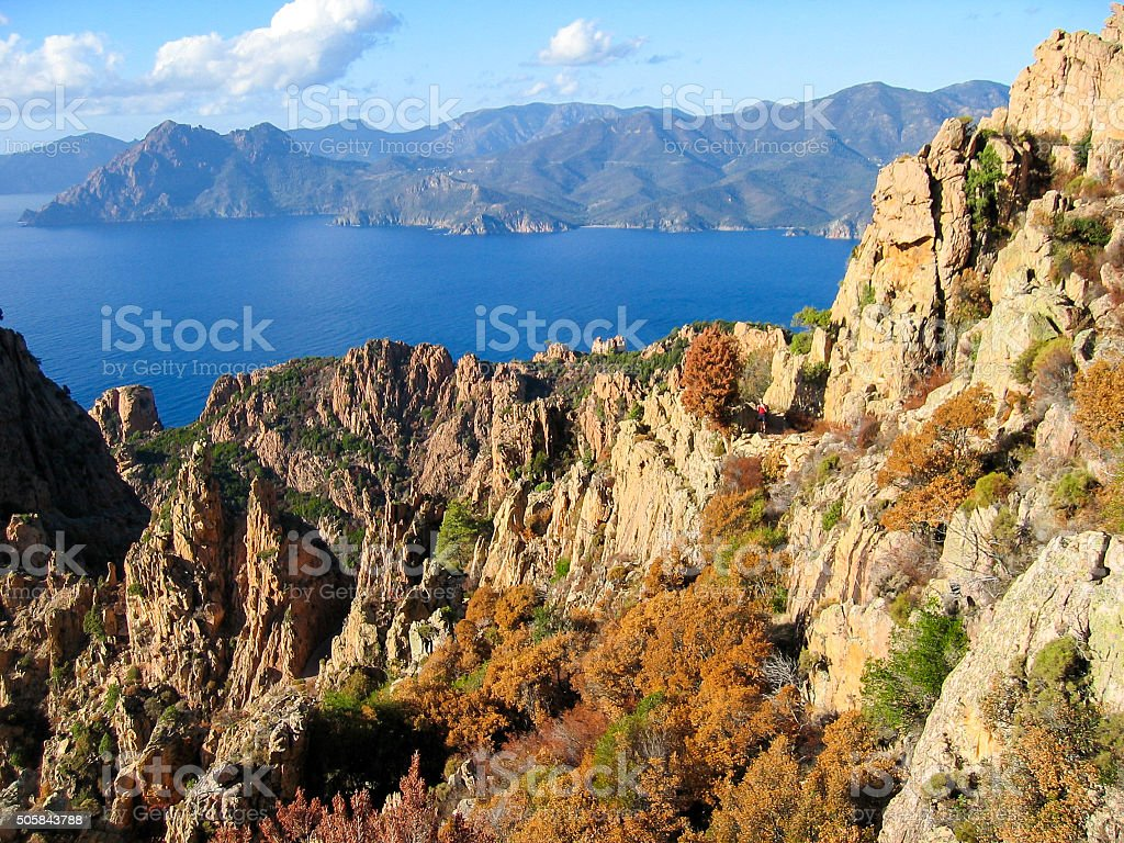 View of Calanques de Piana. Corsica, France. stock photo
