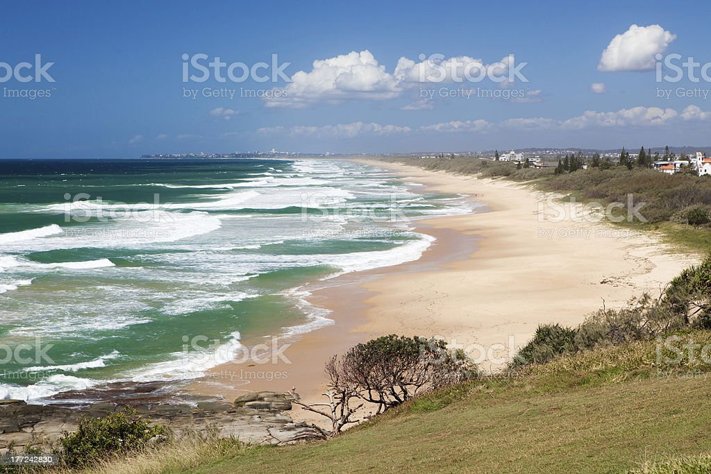 View of Caloundra Beach from Point Cartwright stock photo