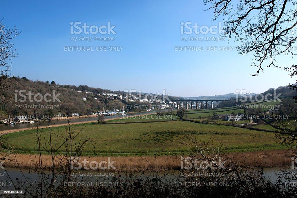 View of Calstock viaduct stock photo