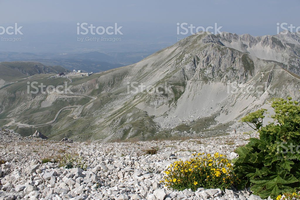 View of Campo Imperatore from Monte Aquila stock photo