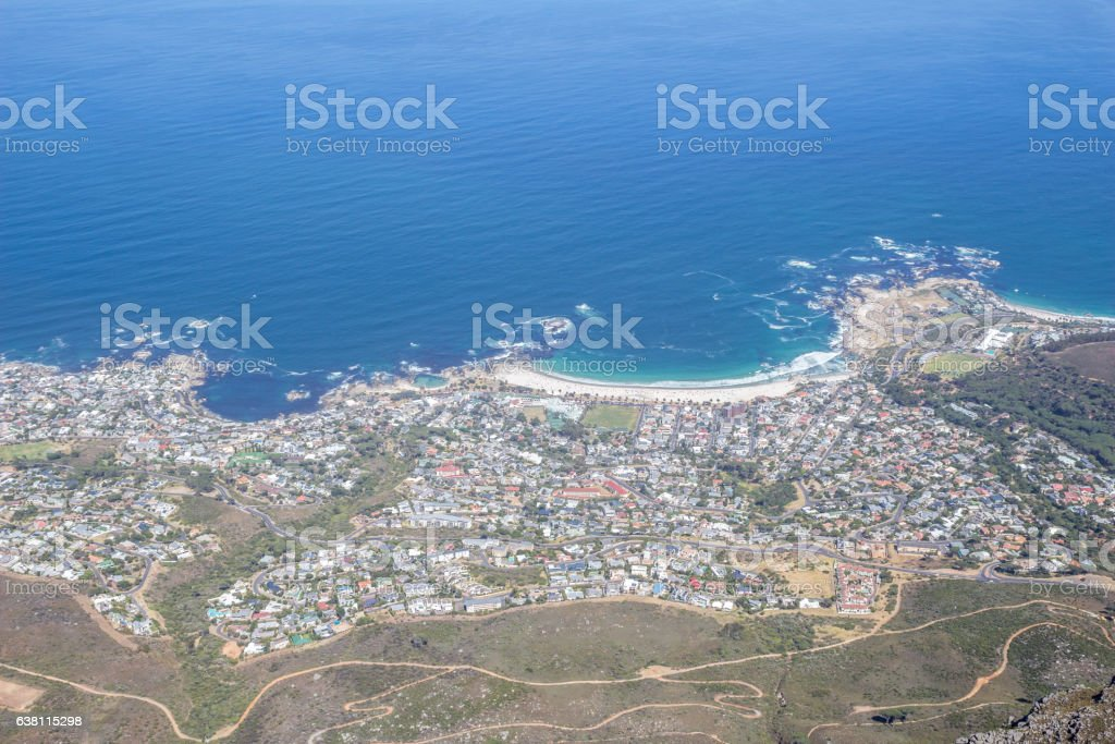 View of Camps Bay, Cape Town facing the Atlantic Ocean stock photo