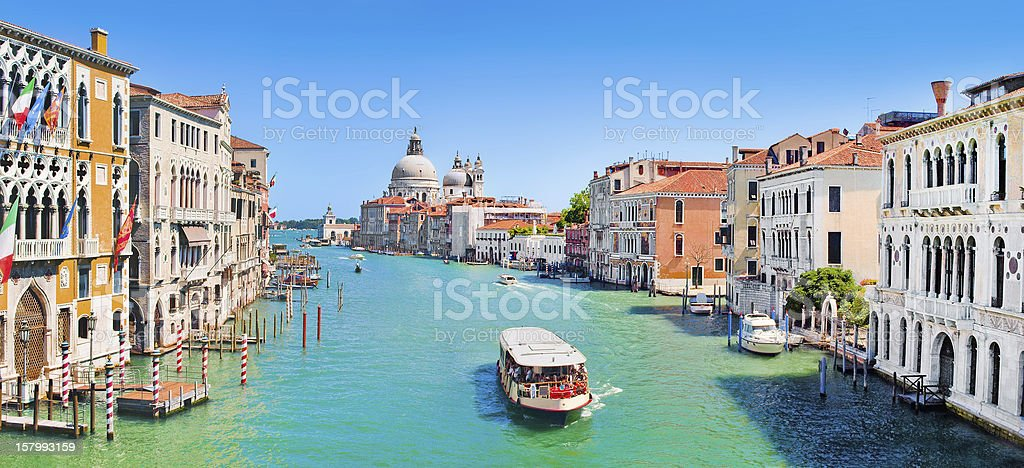 View of Canal Grande in Venice, Italy on sunny day stock photo