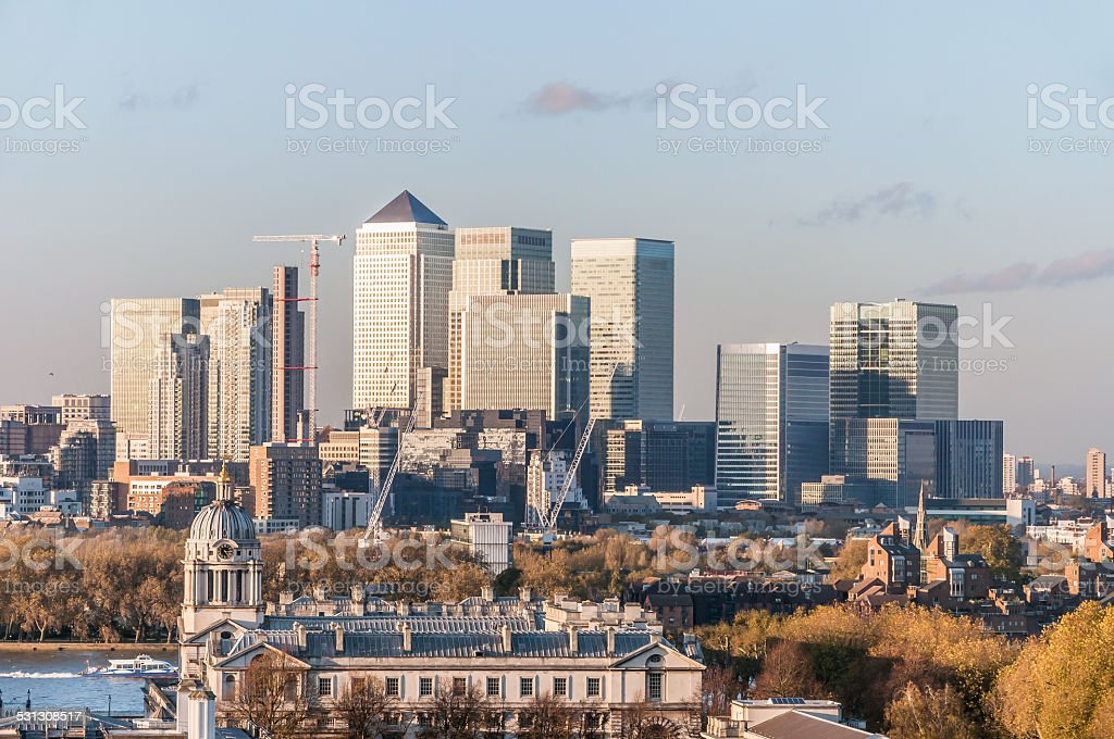 View of Canary Wharf from Greenwich Hill stock photo