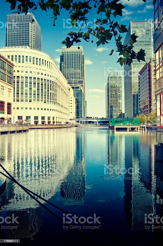 A view of canary wharf in London stock photo