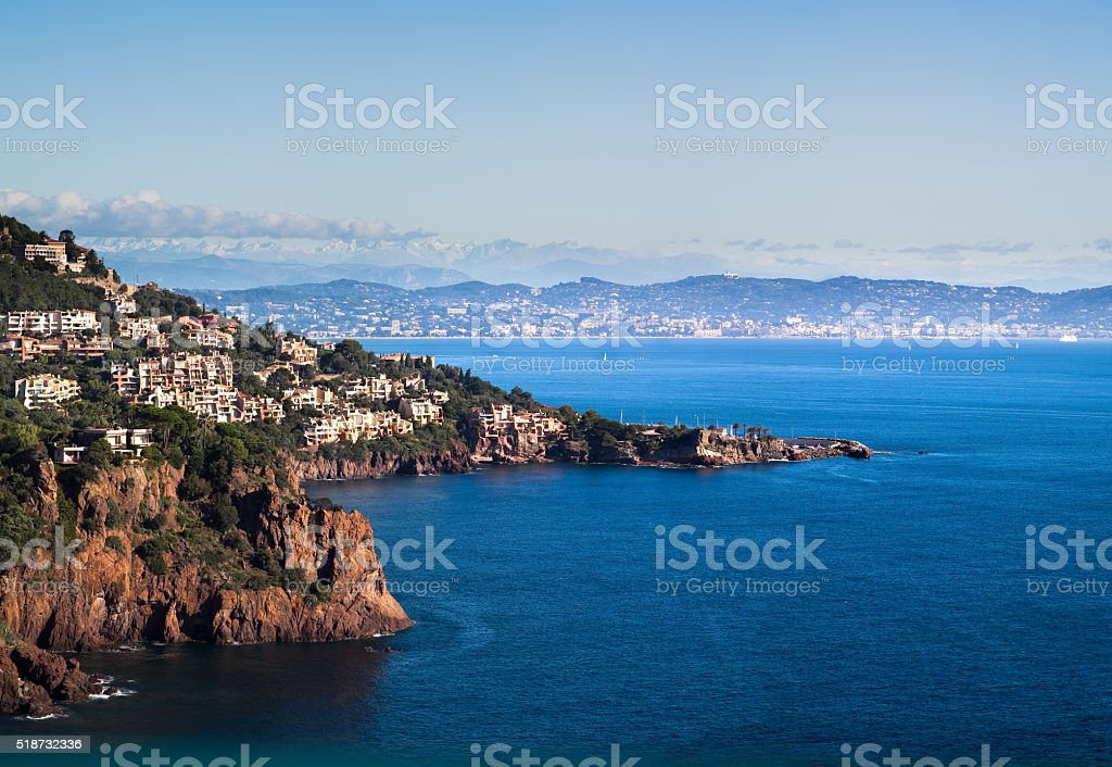 View of Cannes and the Maritime alps from Théoule-sur-Mer, France stock photo