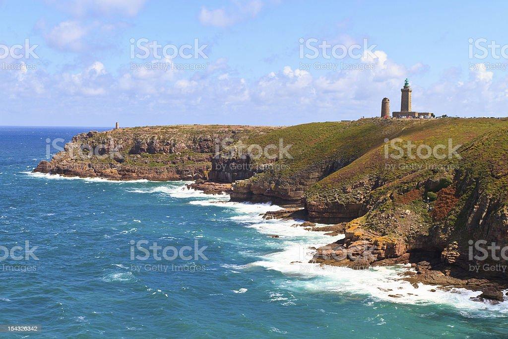 View of Cap Frehel on the French Atlantic coast stock photo