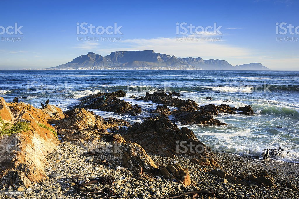 View of Cape Town from Robben Island stock photo