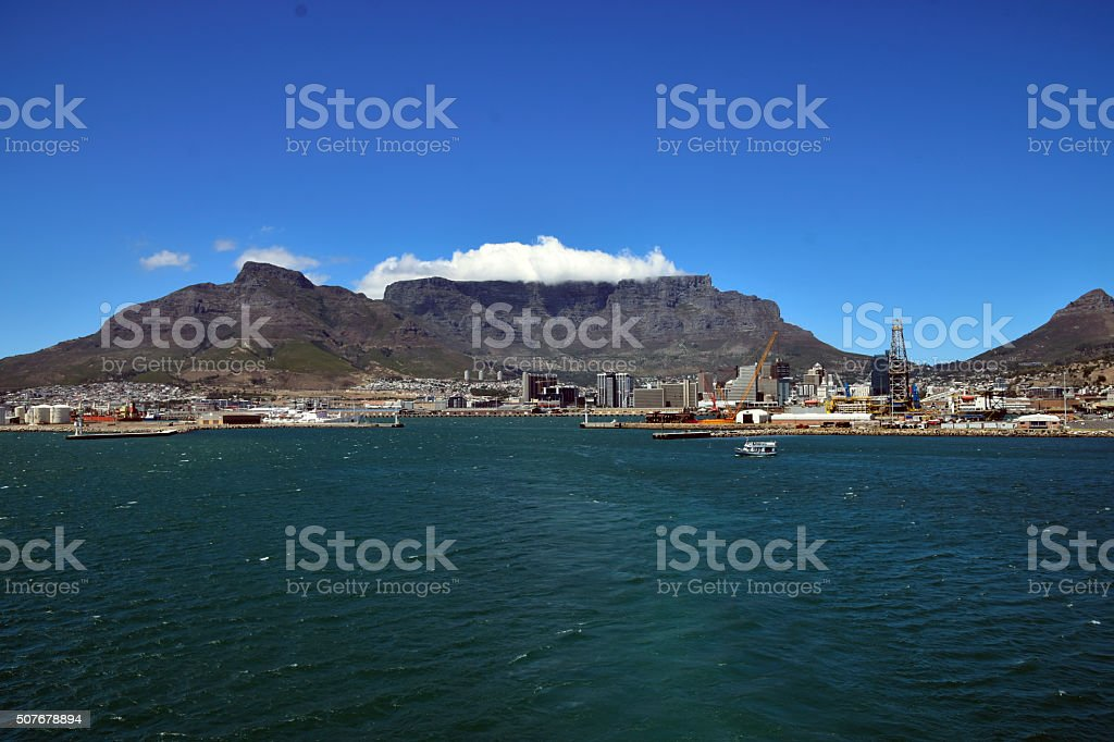 View of Cape Town South Africa and Table Mountain stock photo