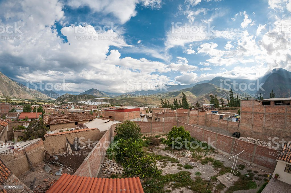 View Of Caraz In The Peruvian Andes stock photo