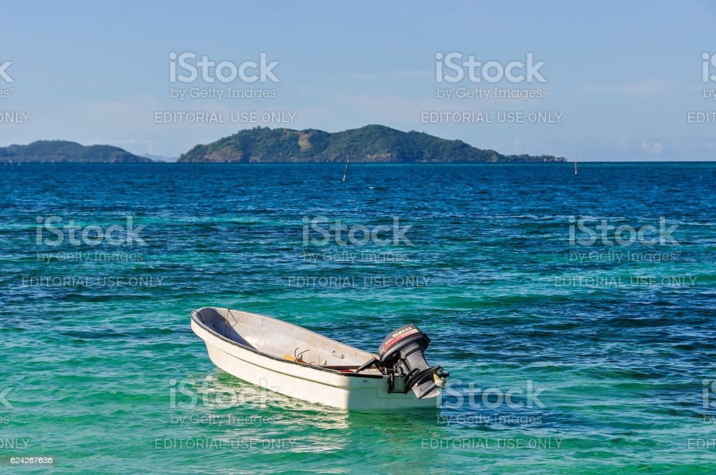 View of Castaway Island in Fiji stock photo